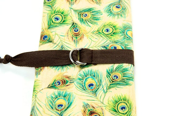 Peacock Feathers SHORT Knitting Needle Case or Art Tool Organizer with Brown Pockets for circular, double pointed, interchangable or travel