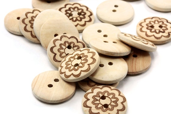 Natural Round Wood Button with Flower Print 20mm 2 holes - 25 pcs