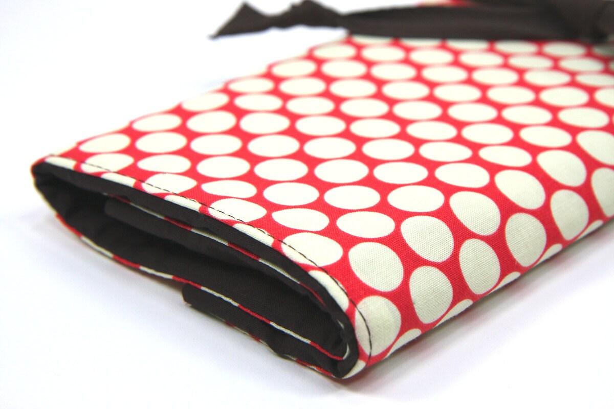 Knitting Needle Organizer : Large knitting needle case organizer cream dots on red