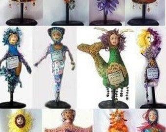 E-PATTERN, Tutorial, ZODIAC, Dolls, 12 abstract, Collage, Michelle Munzone, Gifts, DIY, Textiles, Art, Bambole, Mixed media, Tutorial,