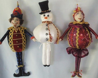 E-Pattern to make JOYFUL JOLLIES- 3 Christmas ornaments,  Instructional, Cloth Dolls, Workshops, PDF, michelle munzone, create, diy, kids
