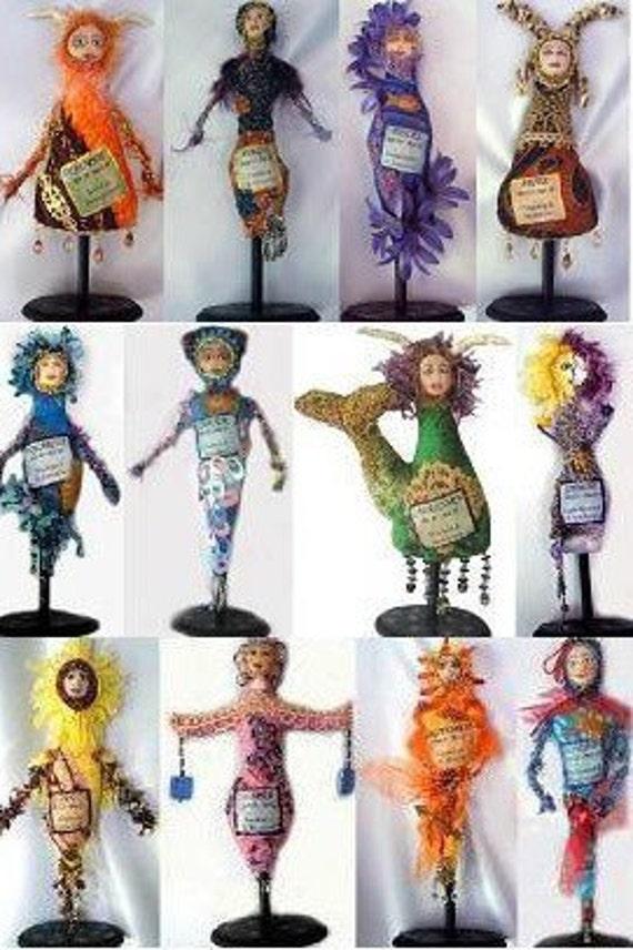 E-PATTERN, Tutorial, ZODIAC, Dolls, 12 abscract Zodiac Dolls, Michelle Munzone, Gifts, DIY, Textiles, Art, Bambole, Cloth Dolls, Tutorial,