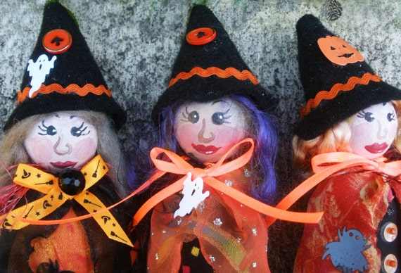 """DOLLS- LITTLE WITCHES on Sticks, 20 cm (8"""") Tall, Hanging Cloth Dolls, Holiday Crafts, Home Decor, Halloween decorations, Michelle Munzone"""