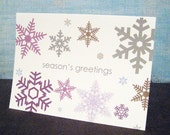 Seasons Greetings with Snowflakes, Set of 8 note cards