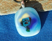 Paw Print Fused Glass Necklace