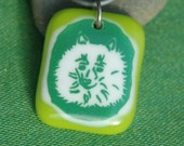 Tropical Lime Green Pomeranian Glass Necklace