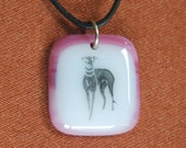 Whippet Pink Burgundy Glass Necklace
