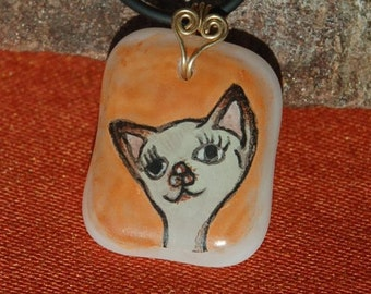 Siamese Cat Necklace - Hand Painted Fused Glass