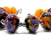 Brinjal - purple, black and yellow lampwork - SRA - BritLamp
