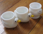 Vintage Duck and Chicken Glass Egg Cups