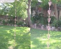 8 ft  Solid Copper Cone Rain Chain Handcrafted  - Kusari Doi -  Feng Shui Zen Outdoor Garden Decor - Water Feature - Handcrafted Metalwork