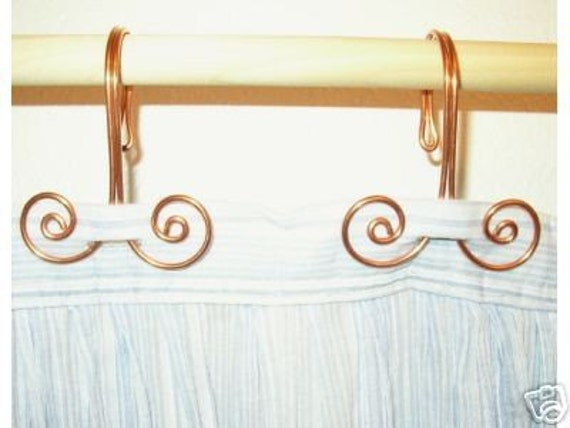 Description Set Of 12 Handcrafted Solid Copper Swirl Shower Curtain Hooks