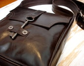 Espresso Brown Genteel Leather Messenger with Antique Key ... Made to Order