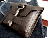 Genteel Whiskey Brown Leather Wallet with Antique Skeleton Key