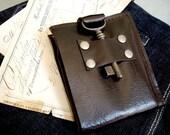 Steamer Leather Bifold Wallet with Antique Skeleton Key ... Espresso Brown