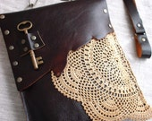 CUSTOM for MOLLY: Leather Boho Festival Granny Bag with Crochet Doily and Antique Key One Of A Kind