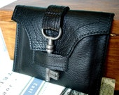 SALE - Black Leather Wallet with Antique Skeleton Key - Unisex Genteel Style Leather Case - LAST ONE