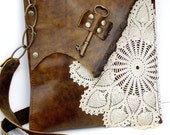 CUSTOM for bebelanezmommie - Boho Leather Messenger Bag with Crochet Doily and Antique Key - Medium Size - One Of A Kind