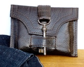 Brown Leather Wallet with Antique Skeleton Key and Snap - Espresso Unisex