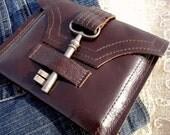 Genteel Whiskey Brown Leather Wallet with Antique Skeleton Key