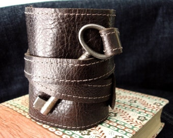 Brown Leather Steampunk Cuff with Antique Key -  Tory Style Wrap Bracelet