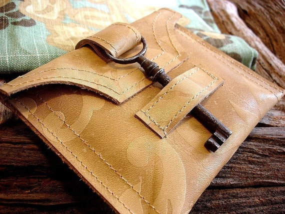 Embossed Leather Wallet with Antique Skeleton Key - Honey Damask - Made To Order