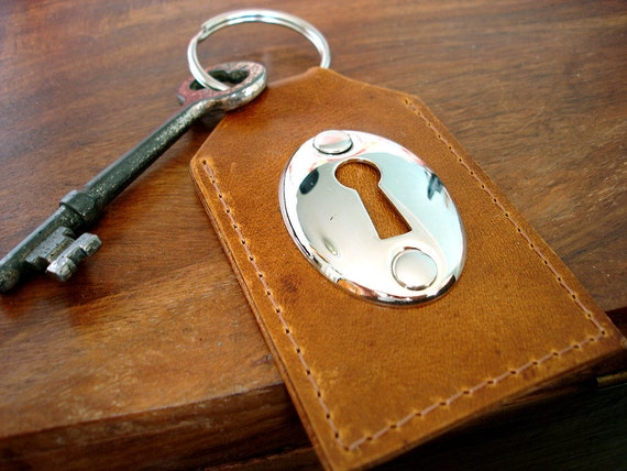 Cognac Leather Key Fob with Escutcheon and Vintage Key - Lincey Keyhole Key Ring