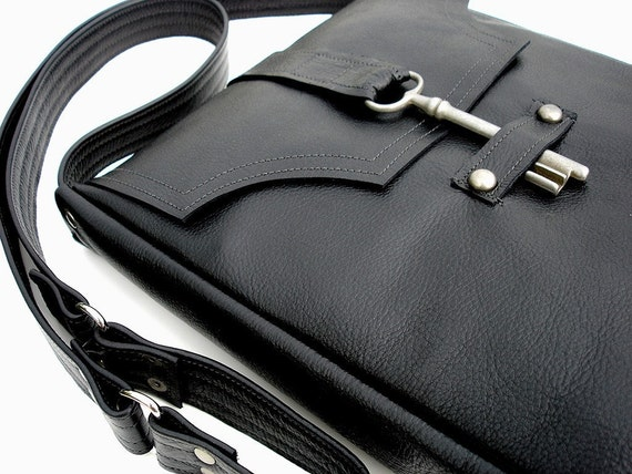 Genteel Black Leather Messenger with Antique French Skeleton Key