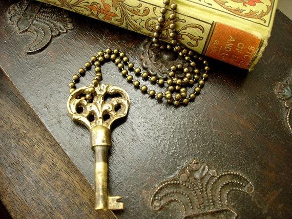 The Gardener ... Antique Brass Vintage Skeleton Key Necklace ... Collectible