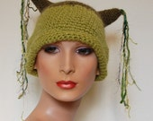 Absinthe Kitty Ears Crochet Hat