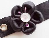 leather Kanzashi corsage cuff