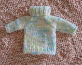 Pastel Speckles TURTLENECK - Miniature Hand Knit Sweater Ornament - Reduced Price - 2009 edition