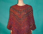 KNC Coming Home Martha Stewart Crochet Poncho - Corinthian Sz L-1X
