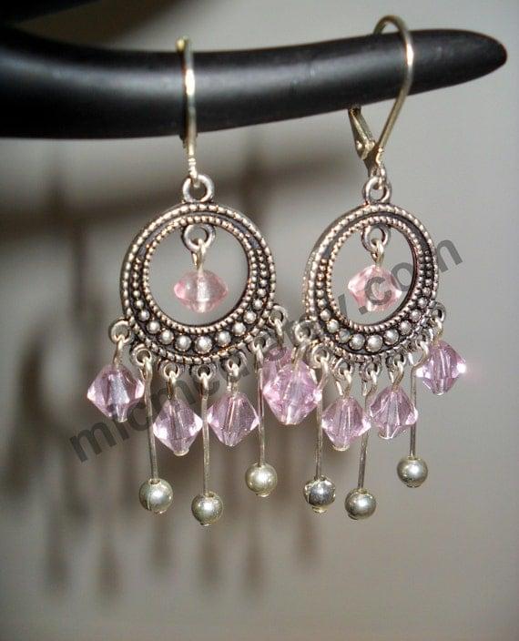 Pink Acrylic and Metal Pendant Dangle Earrings (Item 0156)
