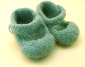 felted mary jane baby shoes -  sage  -  size 2,  3-6 months