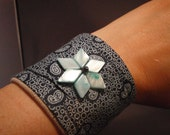 cuff bracelet blue paisley pattern sewn quilted beaded flower