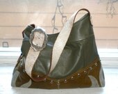 Olive and Grey Studded Bag with Flames