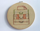 Hand Embroidery Hoop - Suitcase Stack