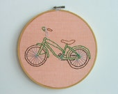 Hand Embroidery Hoop Art - Be Green Bicycle