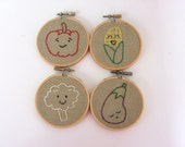 Hand Embroidery Hoops Art - Produce Parade - Set of Four