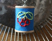 Stitched Vintage Spool Necklace - Cherry Berry - SALE