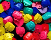 35 mixed rainbow colours MUG with HEART shank BUTTONS novelty plastic lot cute kawaii lolita