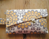 SPRING SALE mia handbag grey, yellow/orange flowers