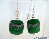 Reserved for Tanja -  Green Swirly Lampwork Earrings