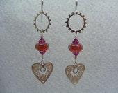 Steampunk Handmade Lampwork Glass Beads Leteam Pink Fuchsia Sterling Silver Filigree Heart Gears Swarovski Crystal Earrings
