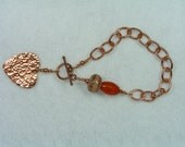 Copper Chain Bracelet Handmade Lampwork Glass Beads Leteam Coral Large Hammered Heart Toggle Closure Faceted Carnal Carnelian Gypsy Boho