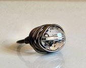 Disco Crystal Bead Ring - Shining Faceted Glass Bead Wire-Wrapped with Gun Metal Wire