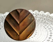 Chevron Striped Vintage Metal Button Ring - Shades of Antique Gold, Copper, and Bronze - Wrapped with Antique Bronze Wire - One of a Kind