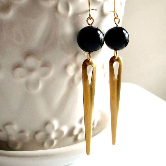 Long Black and Gold Earrings - Shiny Black Glass Beads with Long Gold Teardrop Spikes