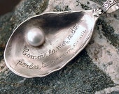 Romantic Sterling Silver Oyster Shell Necklace Cultured Pearl Artist Made One Of A Kind With Silver Chain